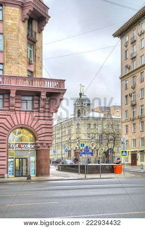 MOSCOW, RUSSIA - January 13.2018: 1st Tverskaya-Yamskaya Street. Main street of the city. Lane Alexander Nevsky and the Church of St. Sergius and Herman of Valaam