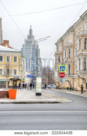 MOSCOW, RUSSIA - January 13.2018: 1st Tverskaya-Yamskaya Street. Main street of the city and Oruzheyny Lane