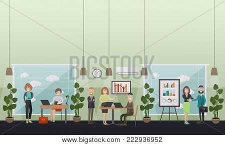 Vector illustration of modern workspace interior with office furniture and equipment, employees working on laptop, meeting with partners. Office life concept, flat style design.