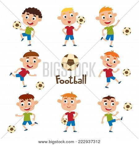 Vector illustration of little boys in shirt and short playing football. Set of cute cartoon kids kicking soccer ball isolated on white background. Pretty football players. Collection of happy children.