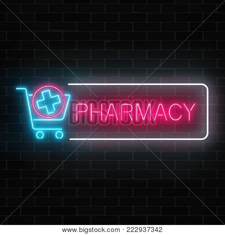 Neon pharmacy glowing signboard with medical cross in shopping cart on brick wall background. Illuminated drugstore sign open 24 hours. Vector illustration.