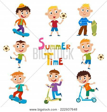 Vector set of summer child's outdoor activities isolated on white background. Happy childhood. Pretty cartoon boys skating, kicking ball and ride kick scooter.