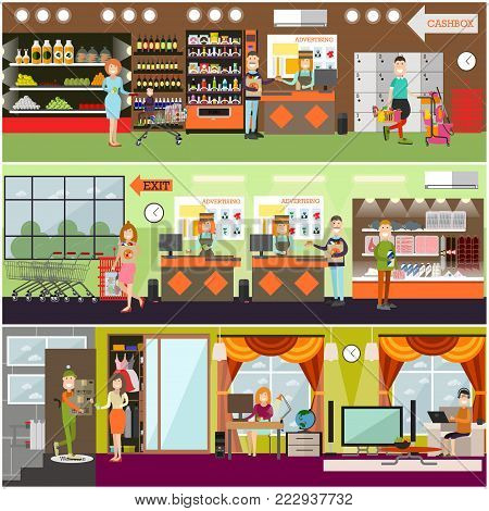 Vector set of posters with grocery store or supermarket interior with cashiers, buyers making purchases. Online shopping and delivery services concept design elements. Flat style design.