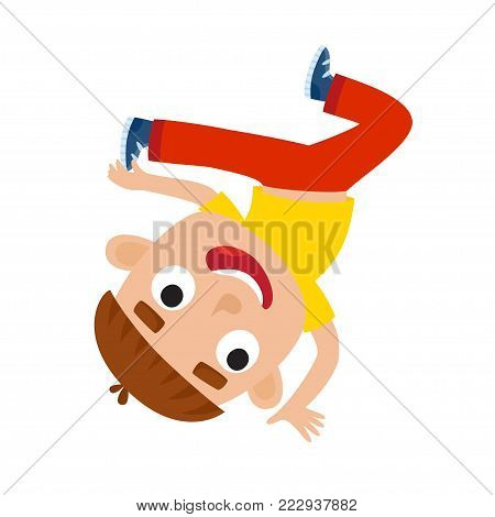 Vector cartoon illustration of little brunet boy-dancer isolated on white. Little happy boy with dancing and smiling. Pretty dancer of hip-hop.