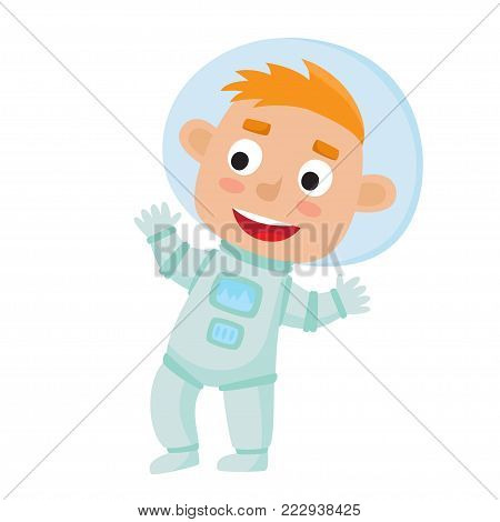 Standing astronaut kid isolated on white background. Cartoon pretty boy wearing astronaut costume. Vector illustration used for child books, stickers, posters, web pages.