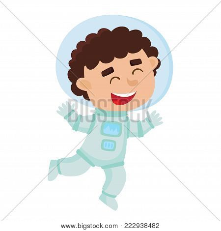 Flying astronaut kid isolated on white background. Cartoon pretty boy wearing astronaut costume. Vector illustration used for child books, stickers, posters, web pages.