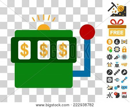 Casino Bandit icon with bonus bitcoin mining and blockchain pictographs. Vector illustration style is flat iconic symbols. Designed for bitcoin software.