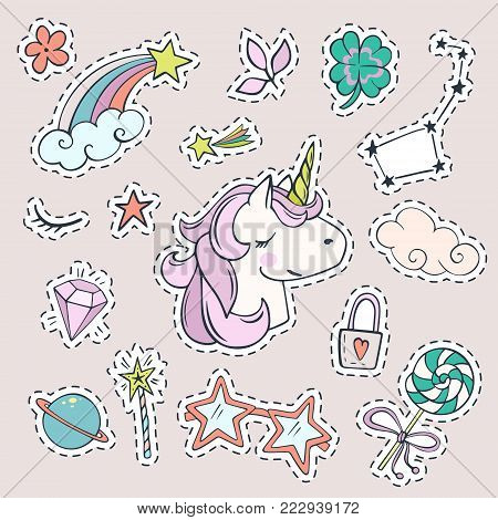 Vector set of magic stickers. Cute unicorn, Ursa Major, shooting star, magic wand, diamond and other fashion patch badges.