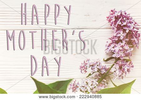 Happy Mother's Day Text Sign, Simple Greeting Card. Happy Mothers Day. Beautiful Lilac Flowers On Ru