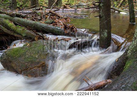 Cascading waterfall on Bila Opava river, part of a protected area Jeseniky, Hruby Jesenik mountains,  Czech Republic