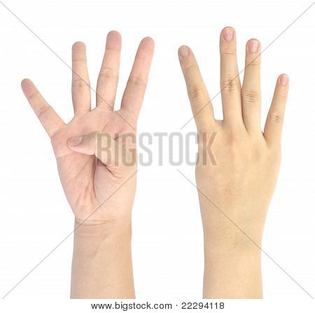showing number four of woman hand isolated on white background