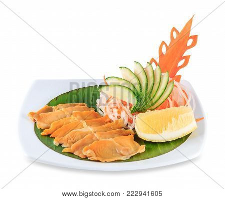 Sashimi With Crab Plate Isolated On White Background