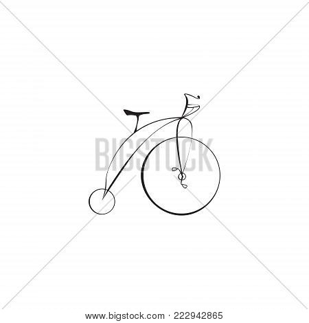 Black Retro Cartoon Style Bike Isolated on a White Background Vector Illustration