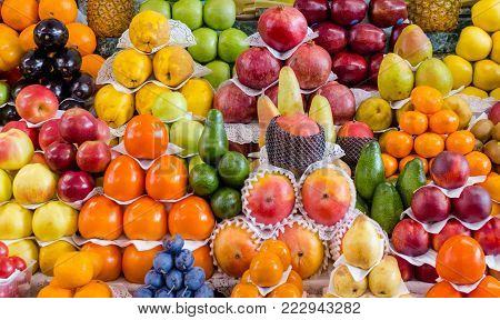 fruit mix, combination of different fruits, decoration on market stall, fruits in different colors, apples, plums, avocados, kakis, pears kiwis mangos melons pineapples oranges