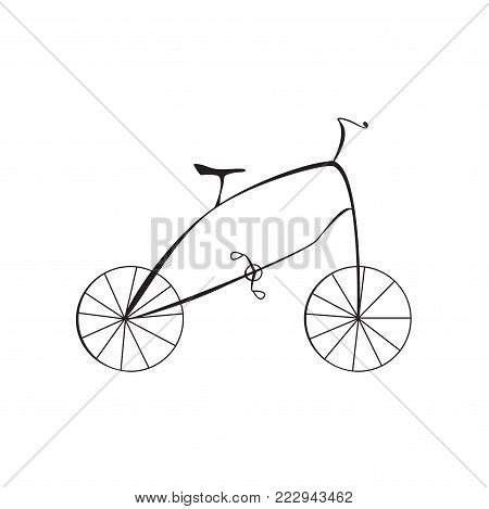 Black Cartoon Style Bike Isolated on White Background Vector Illustration