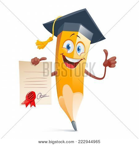 Funny pensil in graduation cap and with diploma certificate. Colorful flat style vector illustration