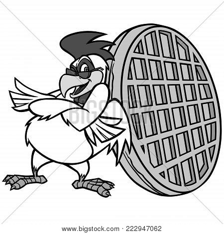 Chicken Waffle Mascot Illustration - A vector cartoon illustration of a Chicken Waffle Mascot.