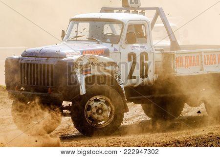 Tyumen, Russia - July 5, 2009: Championship of Russia on truck autocross in the Silkin Ravine. Trucks racing on unpaved track