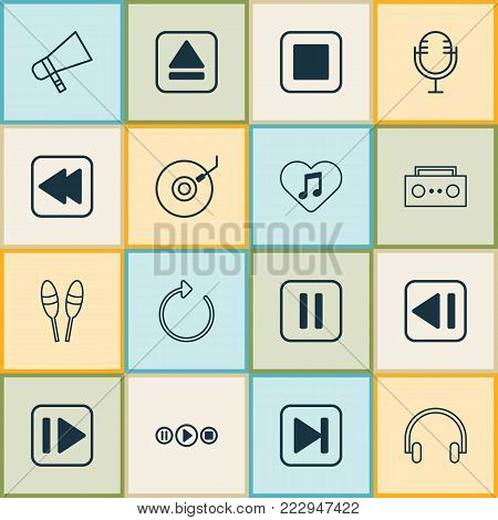 Music icons set with bullhorn, headset, broadcast and other reload elements. Isolated  illustration music icons.