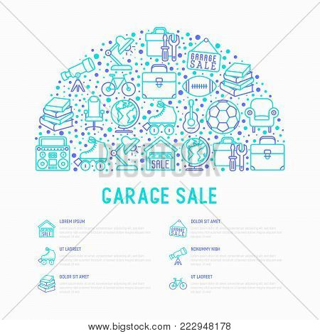 Garage sale concept in half circle with thin line icons: signboard, globe, telescope, guitar, rollers, armchair, toolbox, soccer ball. Modern vector illustration for banner, print media, web page.