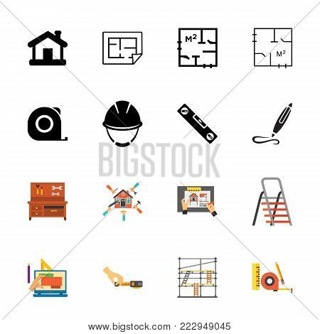 Icon set of construction symbols. Craftsman, renovation, diy. Building concept. Can be used for topics like architecture, construction, home improvement