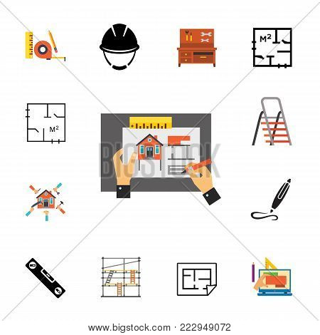 Icon set of construction symbols. Engineering, housing development, renovation. Building concept. Can be used for topics like architecture, construction, home improvement