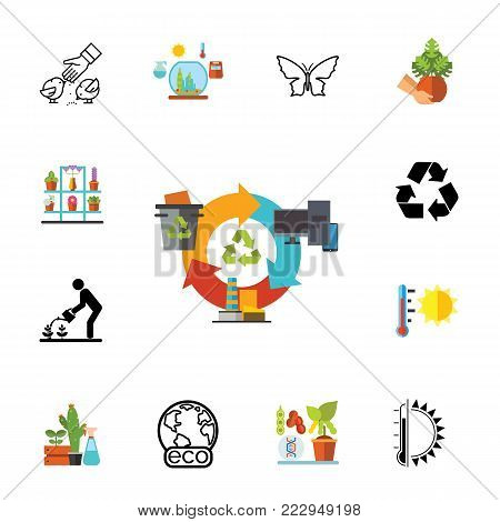 Icon set of eco symbols. Environment protection, global warming, eco friendly. Environment concept. Can be used for topics like nature, ecology, hobby