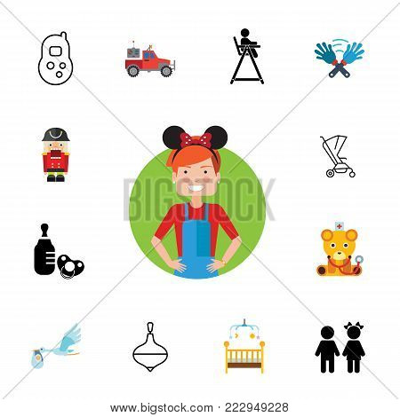 Icon set of family symbols. Nursery, childcare, maternity. Baby concept. Can be used for topics like family, childhood, parenthood