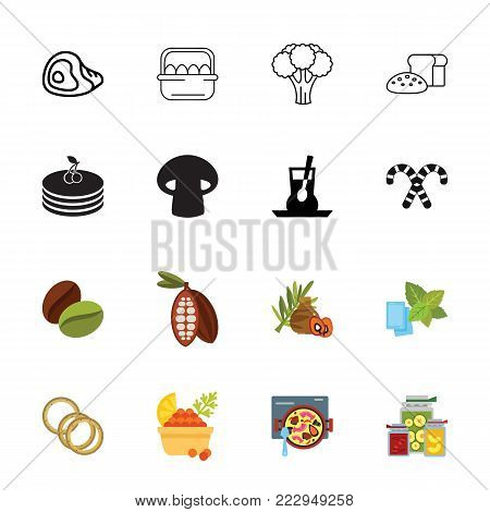 Icon set of food. Cooking, ingredients, homemade. Food concept. Can be used for topics like healthy eating, meal, gastronomy
