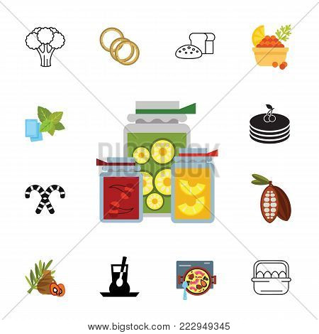 Icon set of healthy food. Natural food, homemade, food preparation. Food concept. Can be used for topics like healthy eating, meal, gastronomy