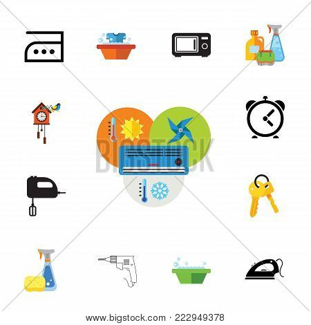Icon set of household activities. Domestic appliances, housework, cleanup. Housekeeping concept. Can be used for topics like technology, maid service, domestic life