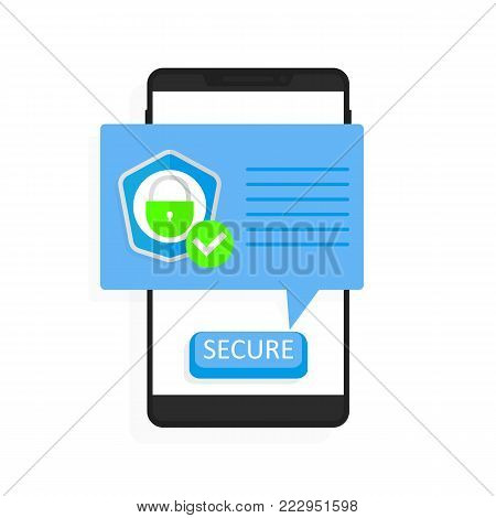 Smartphone security vector illustration, flat style mobile phone with protected shield checkmark, secure connection notification.