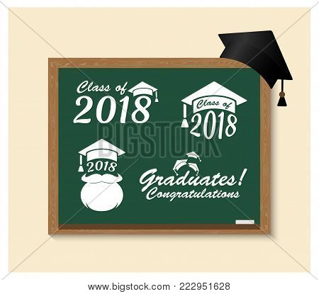 Graduate class of 2018 badges set on school blackboard. Vector Emblem icon with education hat. Sign or logo for graduation congratulation. School grad in academic cap.