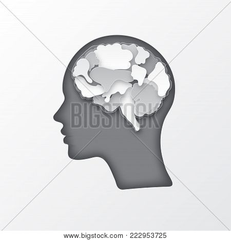 Colorful vector brain illustration, layered cut out colored paper human profile. Creative mind, learning and design concept. Paper carve of brain.