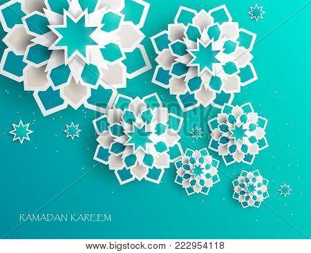 Greeting card with intricate Arabic paper graphic of Islamic geometric art. Ramadan Kareem is the name of the glorious month of Ramadan. Muslim community festival