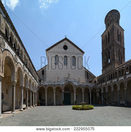 The yard of Cathedral of San Matteo (St. Matthew's Cathedral) in Salerno, Italy.