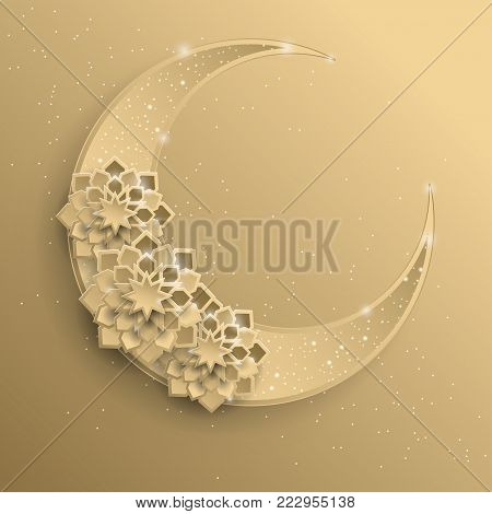 Paper graphic of islamic crescent moon, star shape. Islamic decoration. Golden moon and stardust. Ramadan Kareem - glorious month of Muslim year. Modern 3d paper cut concept