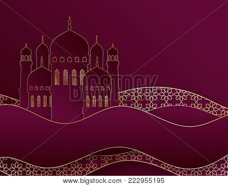 Creative islamic mosque made by paper cutout for holy month of muslim community, Ramadan Kareem celebration. Vector 3D paper mosque and waves
