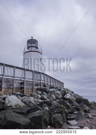 Saint Andrews, New Brunswick / Canada - October 9, 2016: Pendlebury Lighthouse is the oldest remaining mainland lighthouse in New Brunswick.