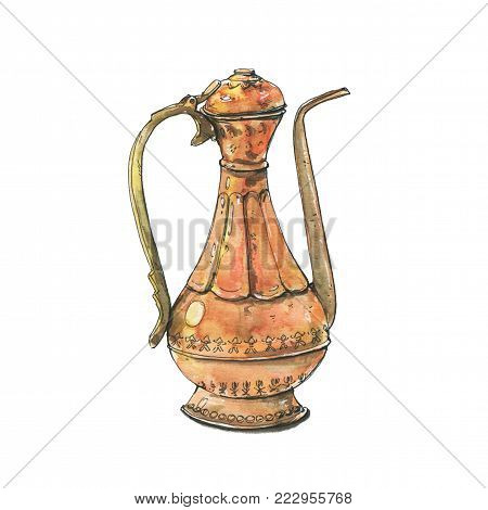 hand drawn watercolor copper teapot teakettle pot kettle on white background