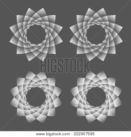 Abstract dot symbol sacred geometry phyllotaxis. Isolated halftone symbol. Opposite spirals vector illustration