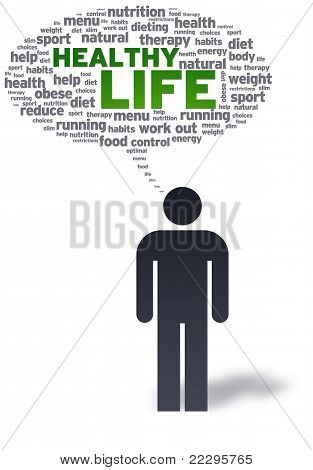 Paper Man With Healthy Life Bubble