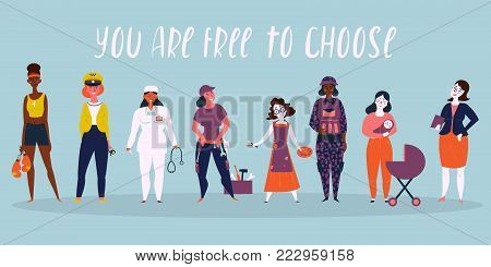 Set of women professions. Boxer, taxi driver, businesswoman, doctor, workwoman, worker, builder, mother, military woman, director. You are free to choose. For we can do it concept Vector illustration