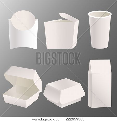 Set of drawn realistic take away food box mock up design. Blank white cardboard carry package, product container, empty food box, paper glass. Takeaway food box template. vector illustration