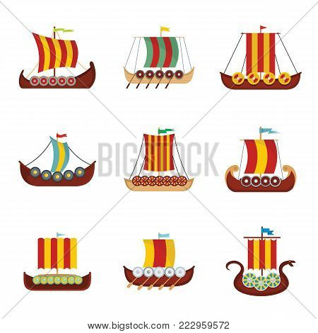 Viking ship boat drakkar icons set. Flat illustration of 9 viking ship boat drakkar vector icons for web