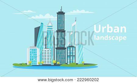Vector  cartoon style illustration of city landscape. Urban skyline. Modern skyscrapers and city transport.