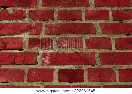 Cropped Shot of a Facebrick Wall. The Wall. Old Brick Wall Background.Wall Texture Grunge Background With A Lot Of Copy Space. Colorful Wall Texture. Background Texture.