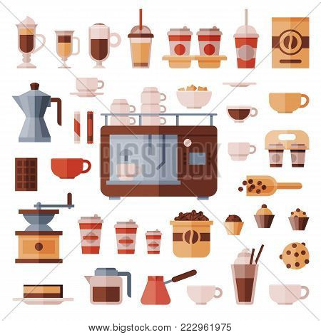 Coffee set vector coffeemachine with coffeecups for hot espresso or cappuccino and beverages with caffeine in plastic cups takeaway in coffeeshop illustration isolated on white background.