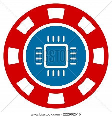 Cpu Casino Chip flat vector icon. An isolated icon on a white background.