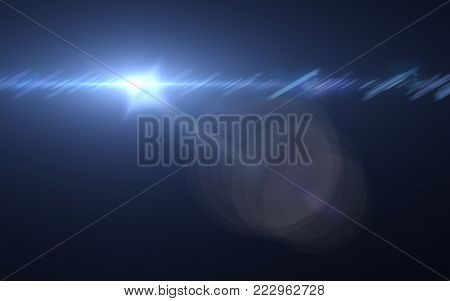 Lens flare or Star flare in black background.Modern nature flare effect with black background for overlay design